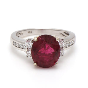 3.79ct Oval Cut, Rubellite Tourmaline Ring