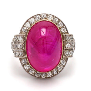 15.25ct Oval Cabochon Cut, Pink-Red Ruby Ring - AGL Certified