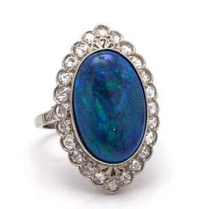 7.13ct Oval Cut, Blue-Green Opal Ring