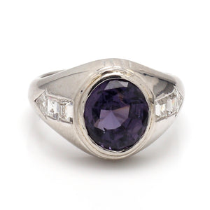 4.52ct Oval Cut, Purple Spinel Ring - GIA Certified