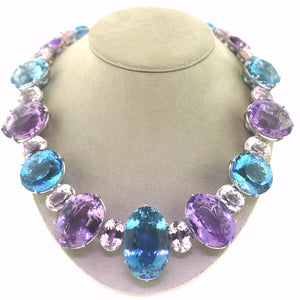 Amethyst, Blue Topaz, Kunzite and Quartz Necklace