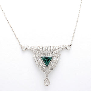 1.20ct Trillion Cut Green Tourmaline and Diamond Necklace