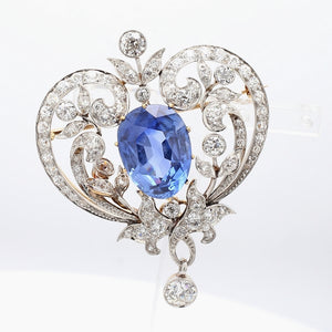 Marcus & Co., 13.85ct Pear Shaped, Burma, No Heat Sapphire Brooch - AGL & Gubelin Certified
