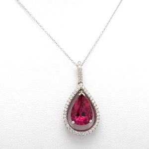 2.80ct Pear Shaped Pink Tourmaline Necklace
