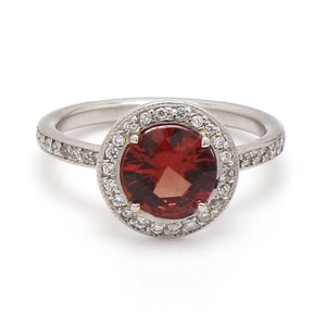 1.59ct Round Brilliant Cut, Reddish Orange, No Heat Spinel Ring - GIA Certified