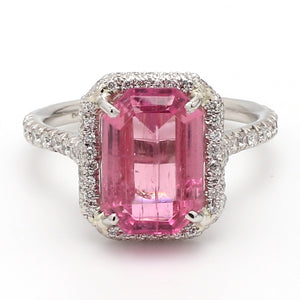 4.26ct Emerald Cut, Pink Tourmaline Ring