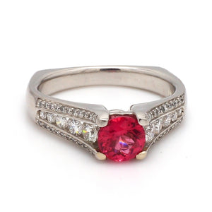 1.05ct Round, Pinkish Orange Spinel Ring