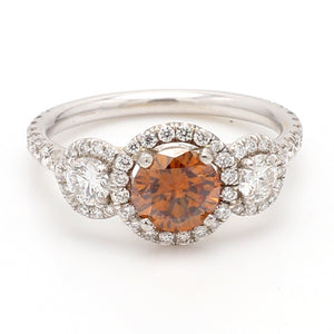 0.87ct Fancy Brownish-Yellowish Orange, Round Brilliant Cut Diamond Ring - GIA Certified
