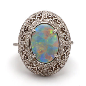 2.03ct Oval Cut, Black Opal Ring