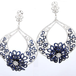 13.22ctw Sapphire and Diamond Earrings