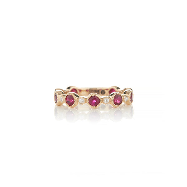 Yellow Gold Diamond and Ruby Colored Diamond Rings - Sofia Jewelry