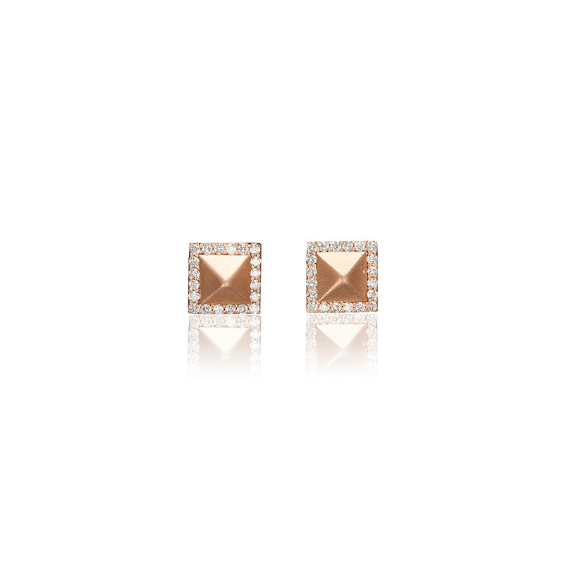 Rose Gold Diamond Prism Earrings - Sofia Jewelry