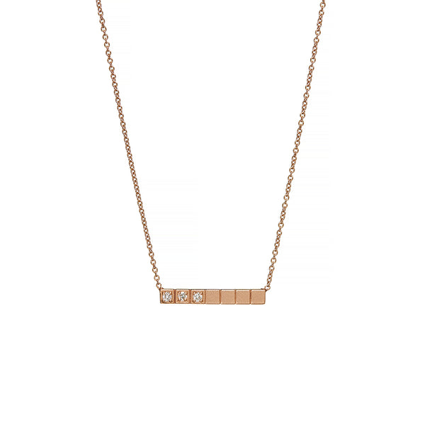 Rose Gold Bar Diamond Necklace - Sofia Jewelry