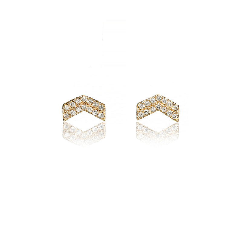 Gold Diamond Chevron Earrings - Sofia Jewelry