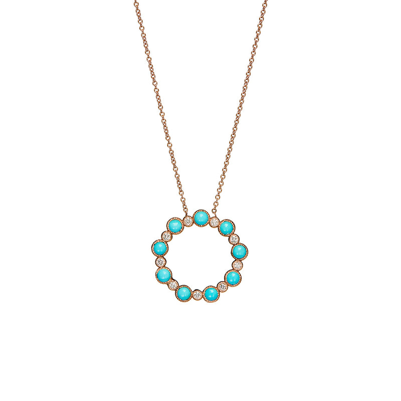 Rose Gold Turquoise Diamond Necklace - Sofia Jewelry