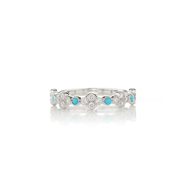 White Gold Turquoise and Diamond Rings For Women - Sofia Jewelry