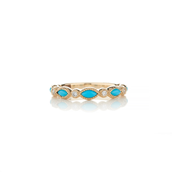 Yellow Gold Diamond and Turquoise Ring - Sofia Jewelry