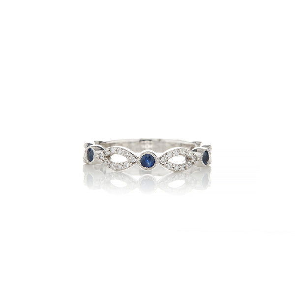 White Gold Sapphire Diamond Rings For Women - Sofia Jewelry