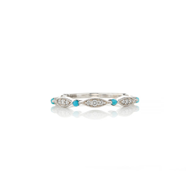White Gold Diamond and Turquoise Ring - Sofia Jewelry