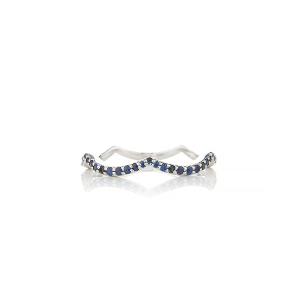 White Gold Wave Sapphire Ring - Sofia Jewelry
