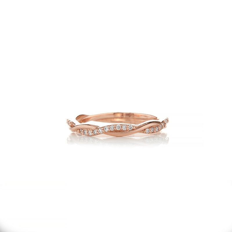 Rose Gold Braided Colored Diamond Rings - Sofia Jewelry