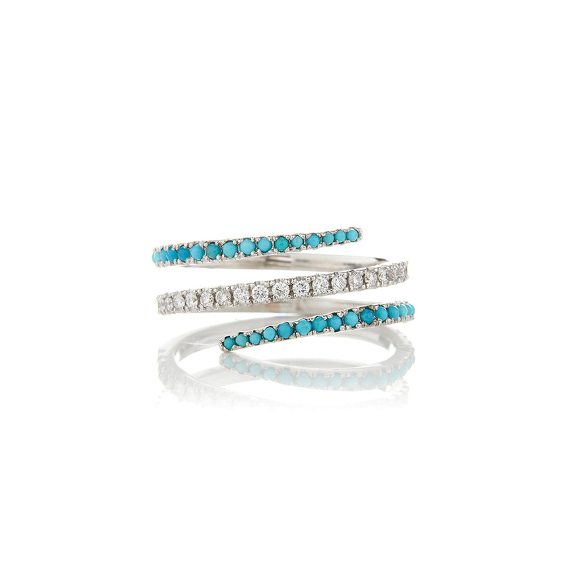 White Gold Diamond Turquoise Spiral Ring - Sofia Jewelry