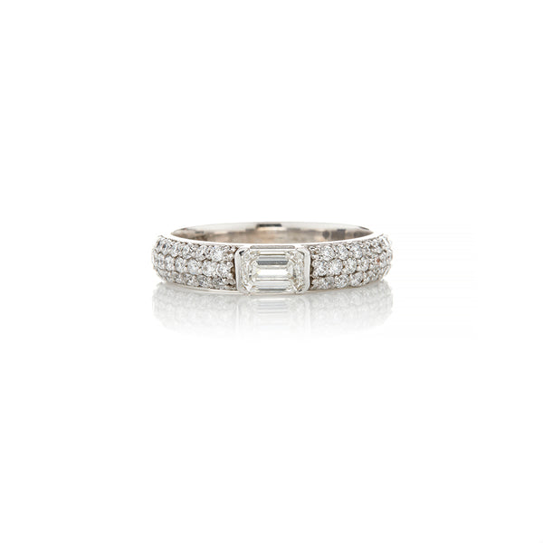 White Gold Emerald Cut Diamond Rings For Women - Sofia Jewelry