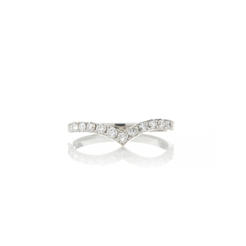 White Gold V Diamond Stacking Rings - Sofia Jewelry