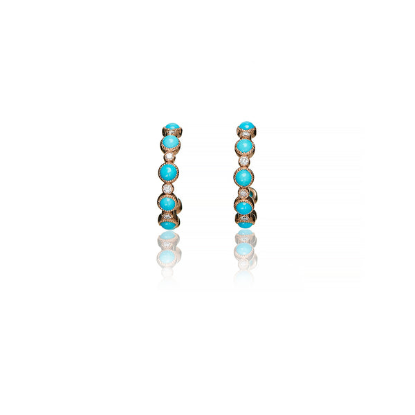Rose Gold Turquoise Diamond Hoops - Sofia Jewelry