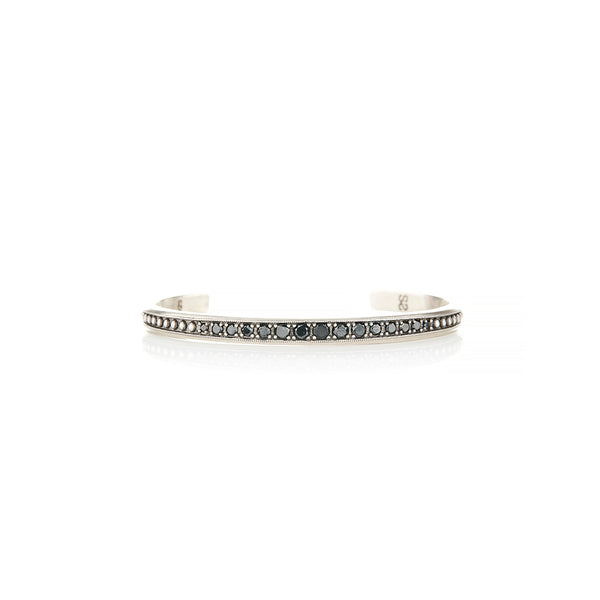 Sterling Silver Cuff With Black Diamonds - Sofia Jewelry