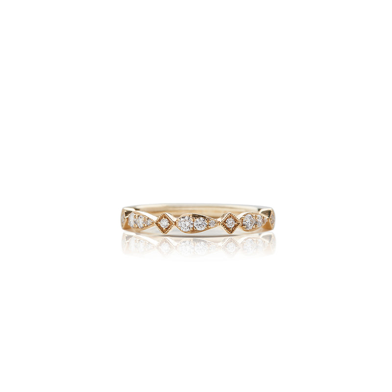 Gold Multi Shape Milgrain Diamond Anniversary Band - Sofia Jewelry