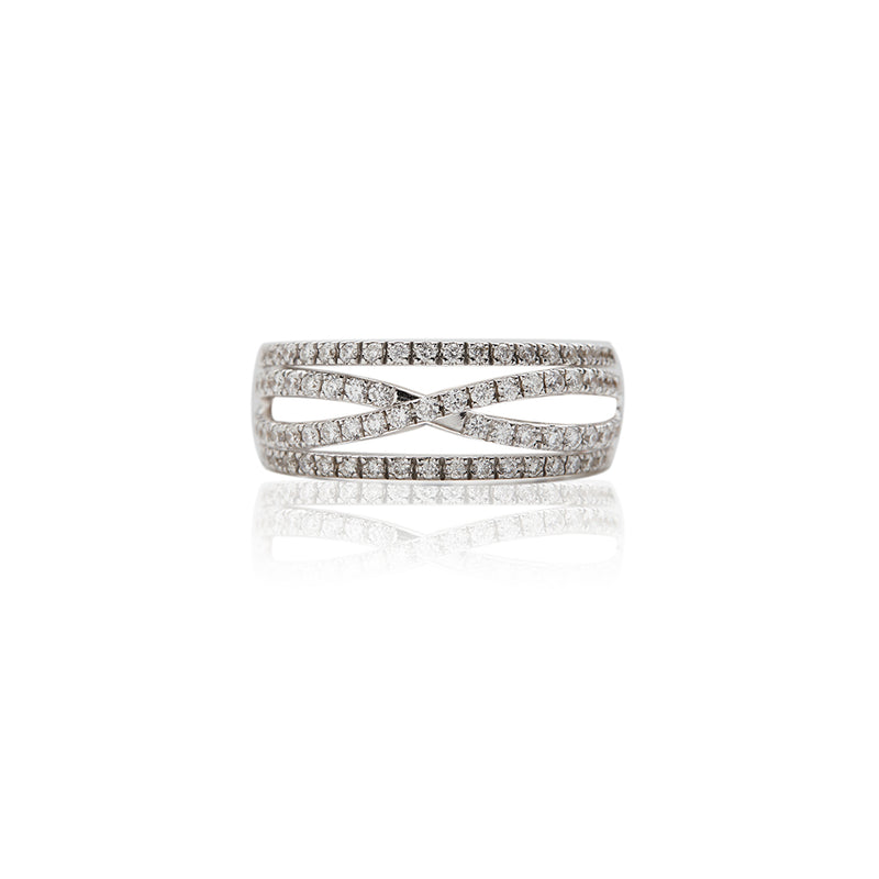 White Gold 4 Row Diamond Rings For Women - Sofia Jewelry
