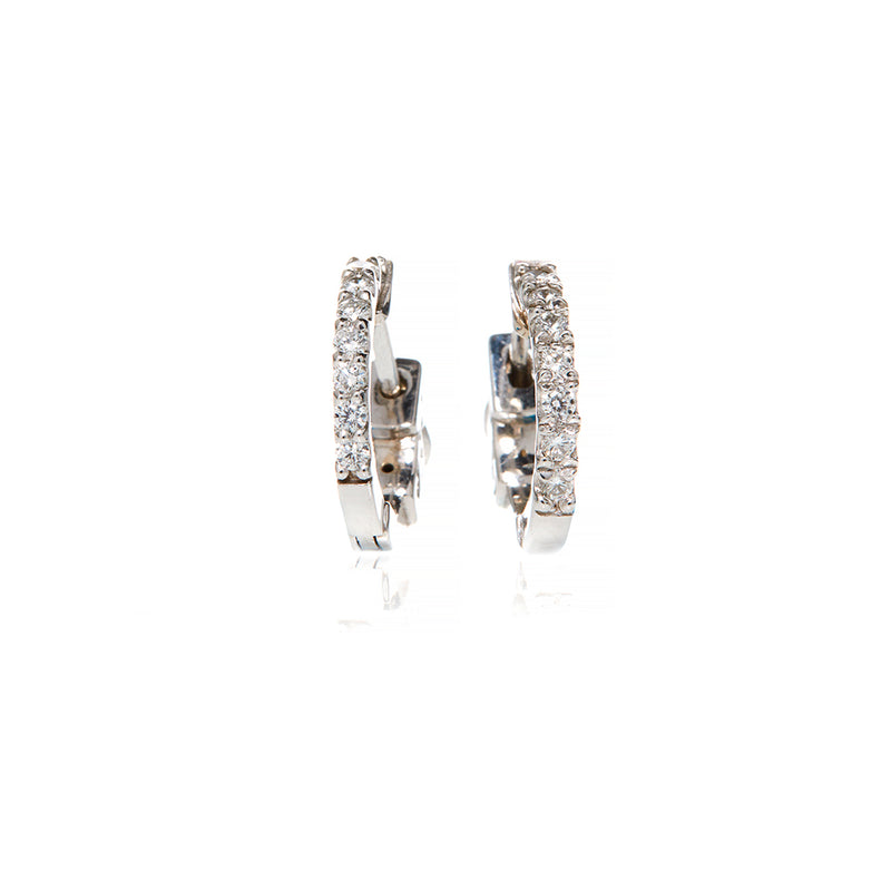 White Gold Diamond Small Hoops - Sofia Jewelry