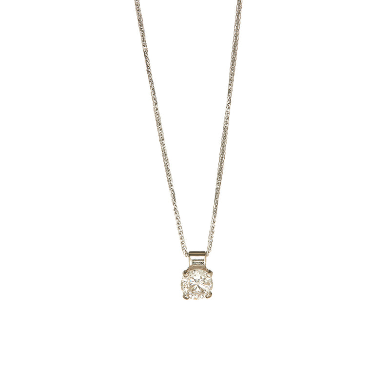 White Gold Single Diamond Pendant - Sofia Jewelry