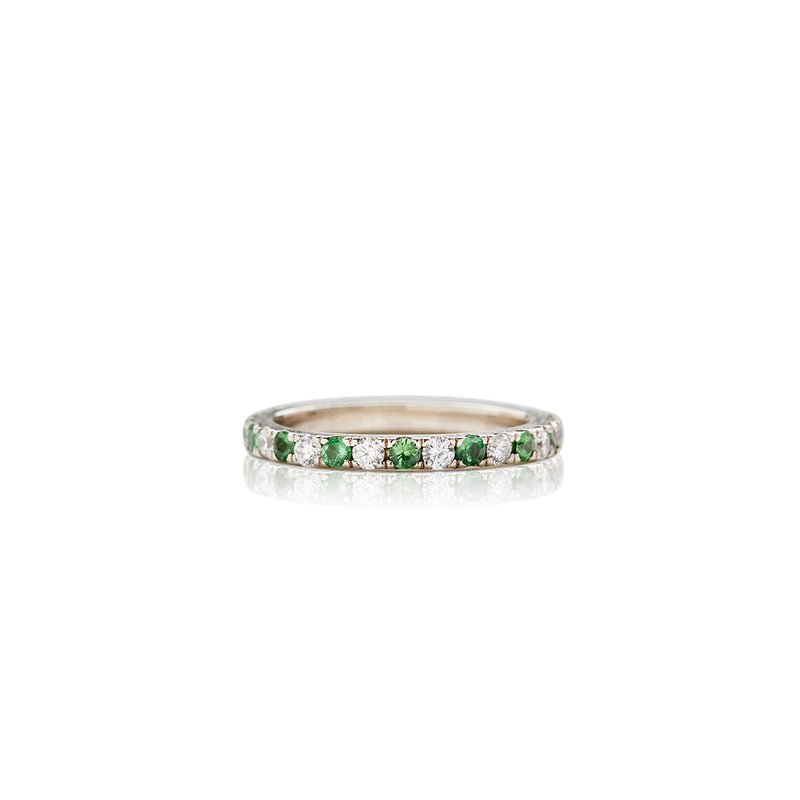 White Gold Diamond Tsavorite Garnet Band - Sofia Jewelry
