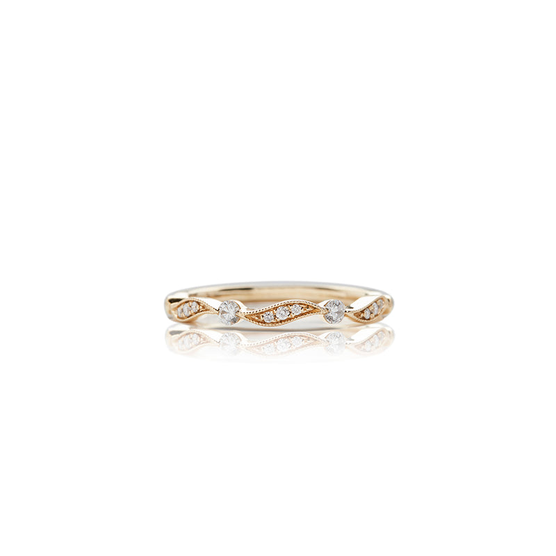 Gold Pave Wave Diamond Band - Sofia Jewelry