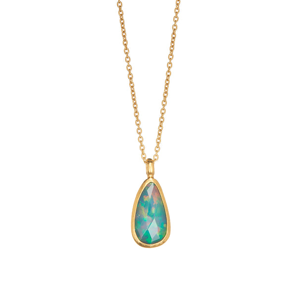 Gold Rose Cut Opal Pendant - Sofia Jewelry