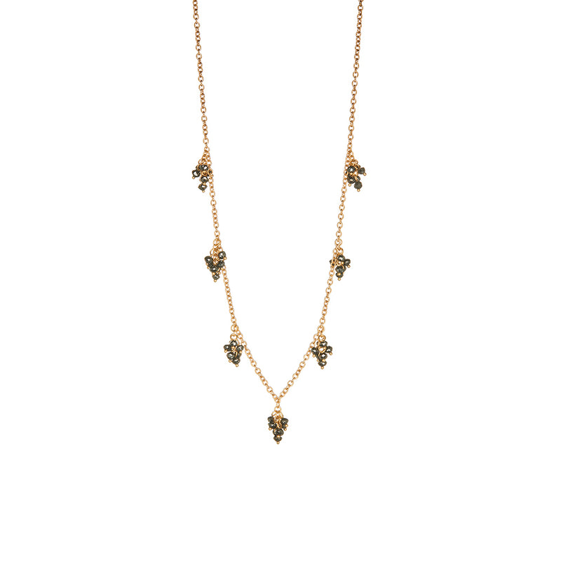 Gold Black Diamonds Necklace - Sofia Jewelry