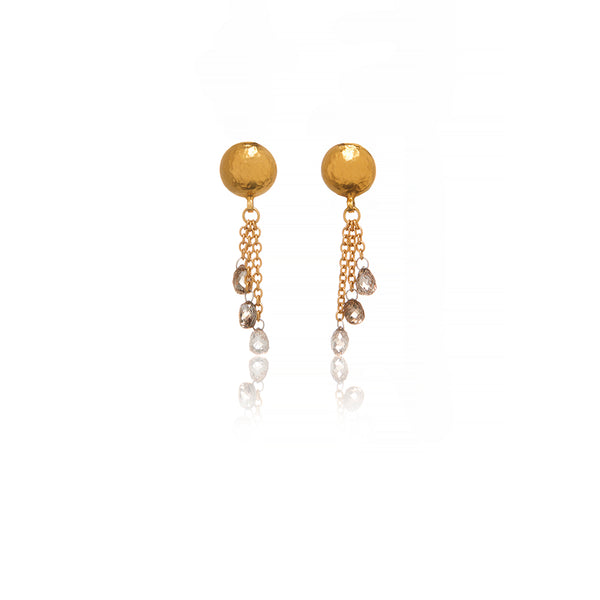 Gold Champagne Diamond Earrings - Sofia Jewelry