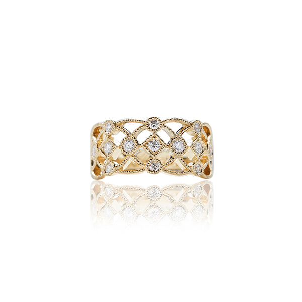 Gold Lattice Diamond Rings For Women - Sofia Jewelry