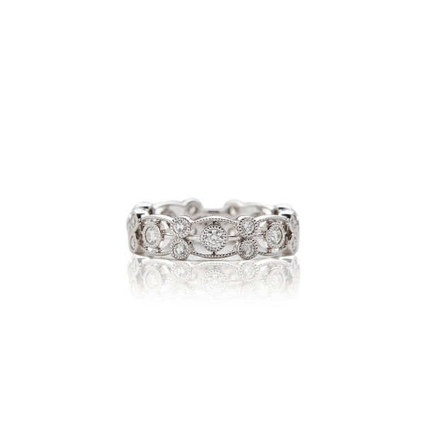 White Gold Scroll Bezel Diamond Band - Sofia Jewelry