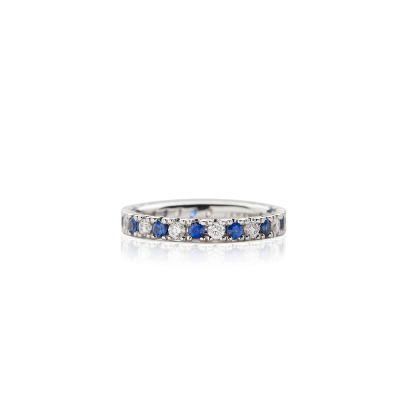White Gold Sapphire Diamond Anniversary Band - Sofia Jewelry