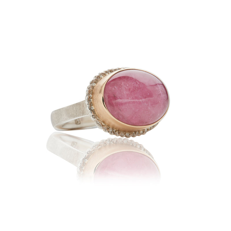 Sterling Silver Two Tone Tourmaline Colored Diamond Rings- Sofia Jewelry