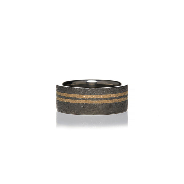 Titanium and Gold Mens Wedding Bands - Sofia Jewelry
