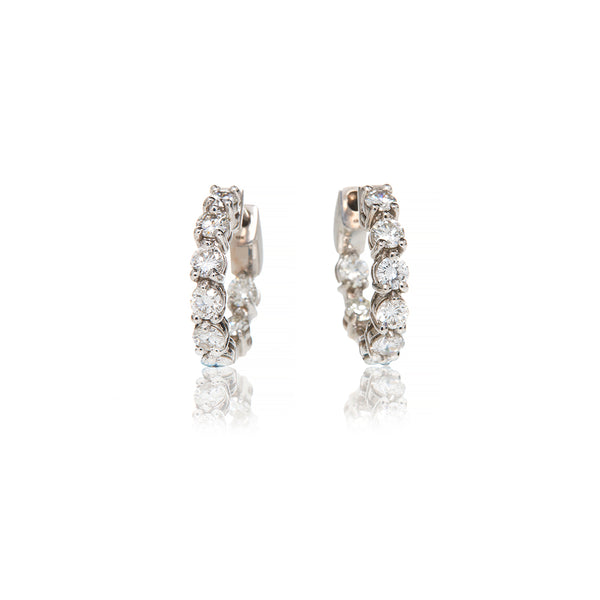 White Gold Small Hoop Earrings - Sofia Jewelry