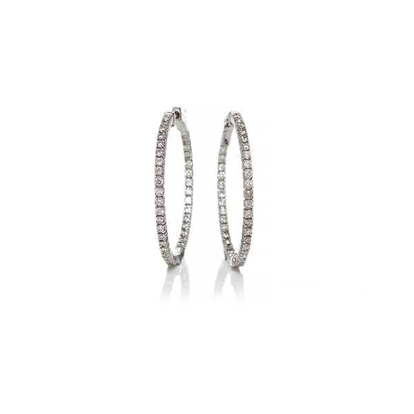 White Gold Diamond Hoops - Sofia Jewelry