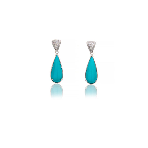 White Gold Diamond And Turquoise Earrings - Sofia Jewelry