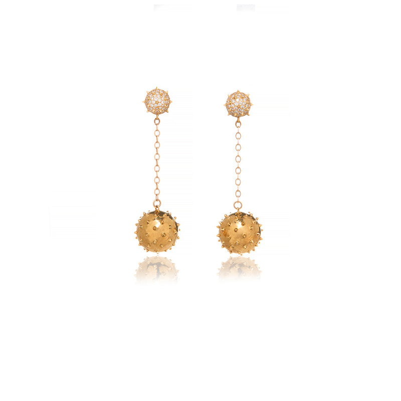 Diamonds Gold Drop Spike Earrings - Sofia Jewelry