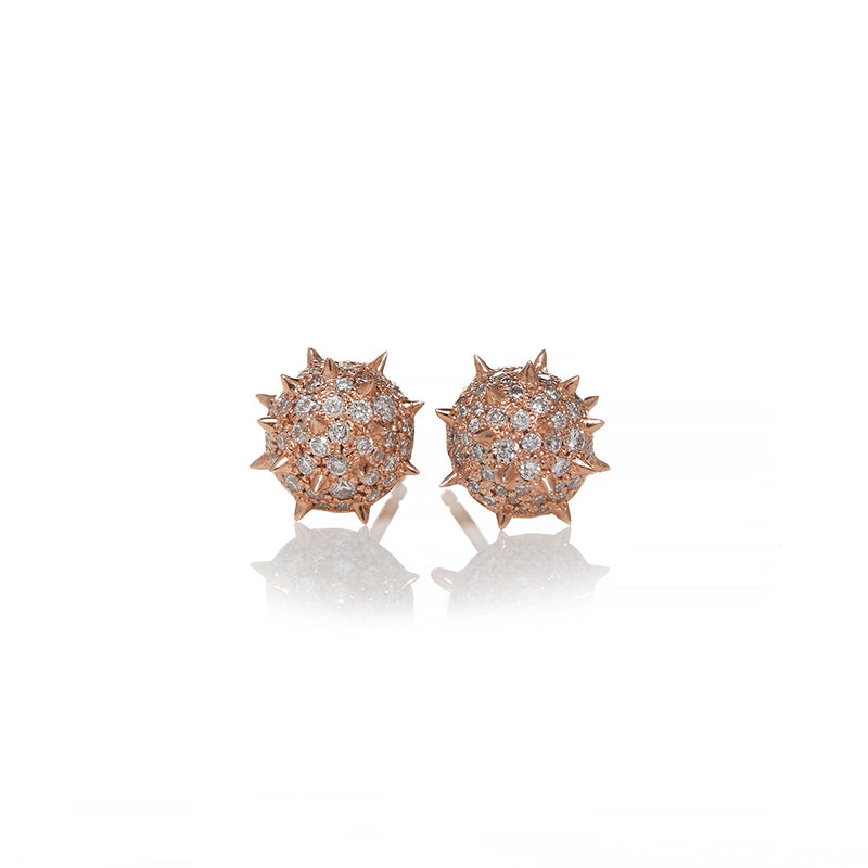Rose Gold Diamond Spike Stud Earrings - Sofia Jewelry