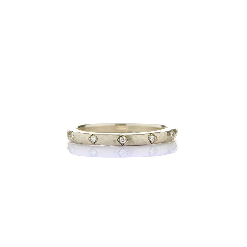 White Gold Dot Diamond Band - Sofia Jewelry